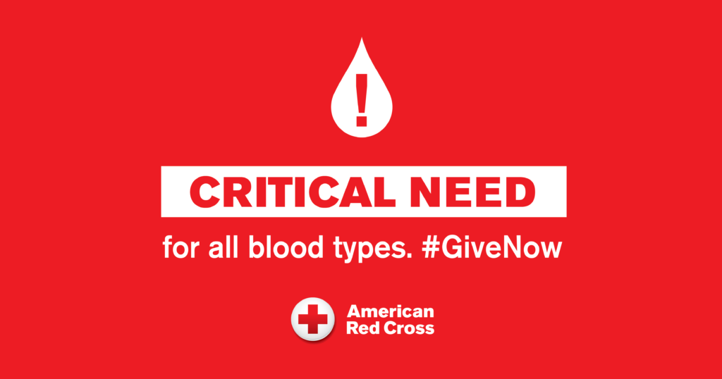 American Red Cross Critical Need for Blood Donations
